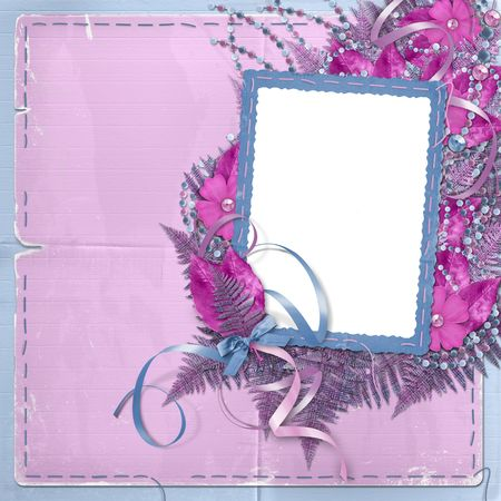 Frame for photo or greeting on the floral background photo