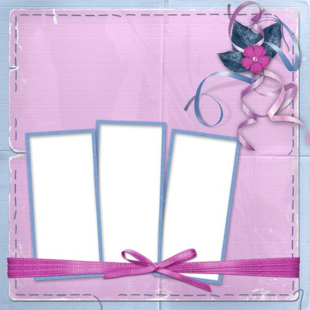 Three frame for photo or greeting on the abstract background photo