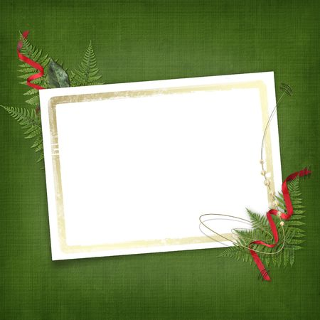 Leaf with gold frame for invitation or congratulation