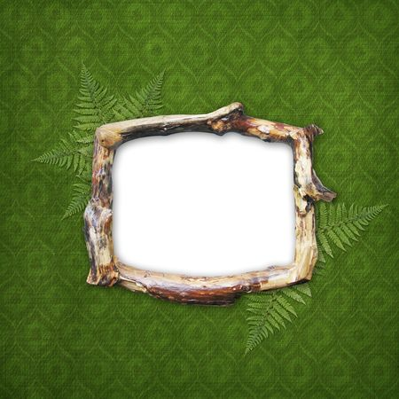 Wooden frame for picture or photo on the abstract background photo