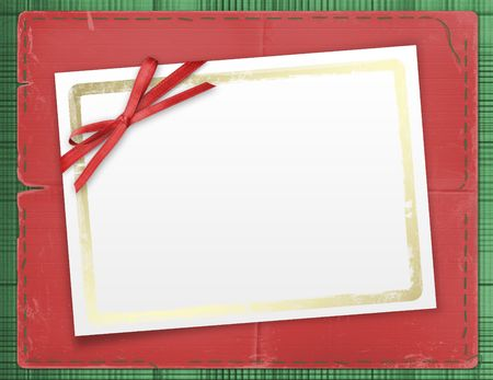 Framework for a photo or invitations. A red bow. A beautiful background. Stock Photo - 3870953
