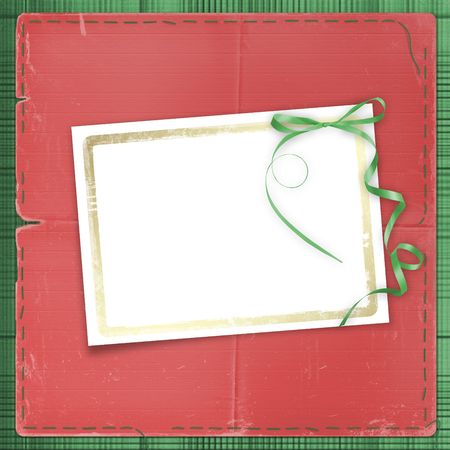 Framework for a photo or invitations. A green bow. A beautiful background. Stock Photo - 3870955
