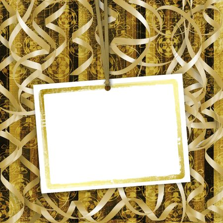 Old invitation for holiday with ribbons on the grunge background  photo