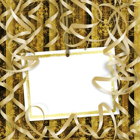 suspend: Old invitation for holiday with spheres and streamers on the grunge background