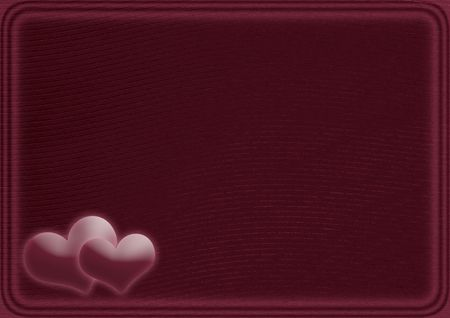 claret: Card with two hearts on a claret background