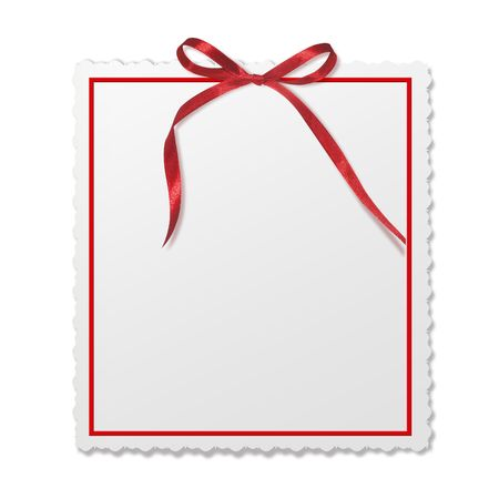 Framework for invitations. A red bow.  Isolated white background.