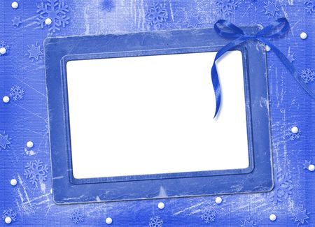 ornamente: Frame with streamer for photo, on the Winter background Stock Photo