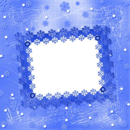 ice sheet:  Carved frame for photo on the abstract blue background Stock Photo