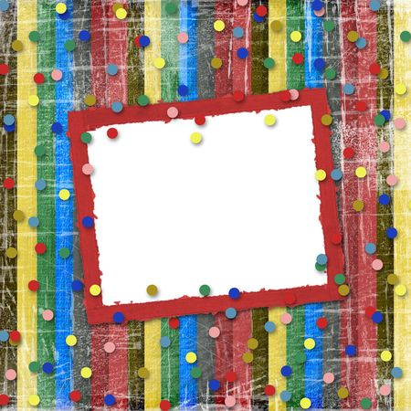 A striped scratch background with confetti and frame photo