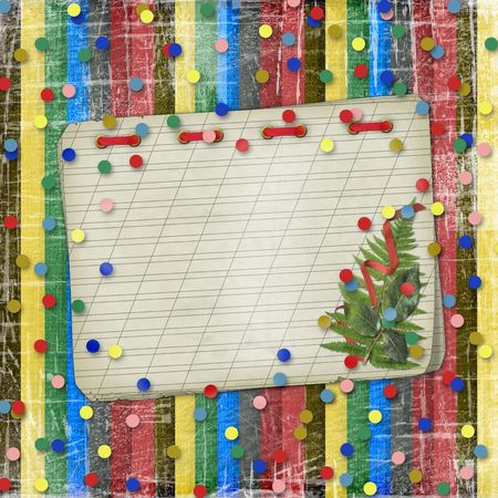 Old notebook with a bouquet on the striped abstract background photo
