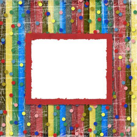 ornamente:  A striped scratch background with confetti and frame