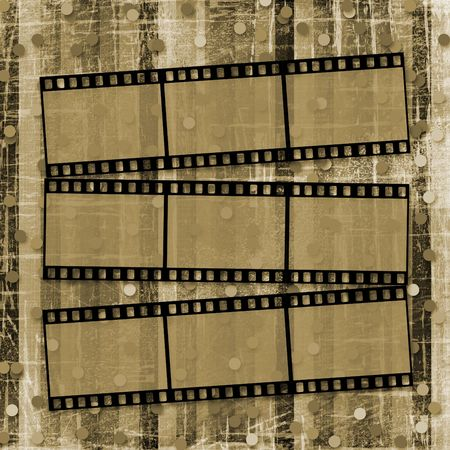 ornamente:  A striped scratch background with  filmstrips and confetti Stock Photo
