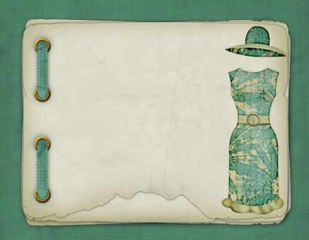clasp: Old album with sketches of a dress