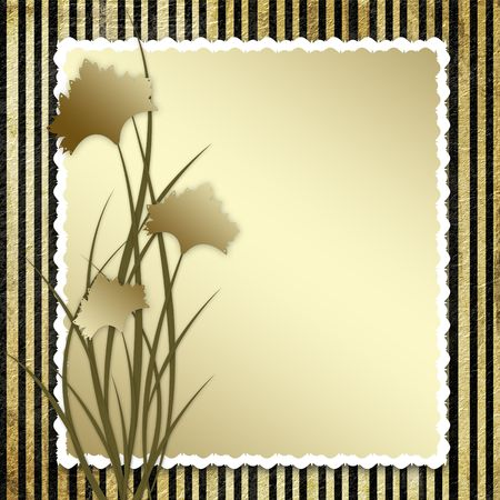 Postcard-invitation with brown  carnation to the striped background photo