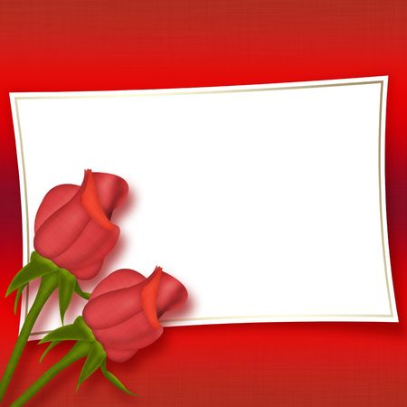red rose border: Card with beautiful red roses