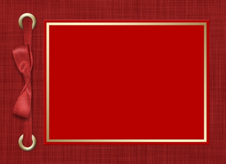 wedding photo frame: Framework for a photo or invitations. A red bow. A beautiful background. Stock Photo