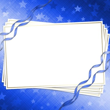 Invitation card on a dark blue background with ribbons Stock Photo