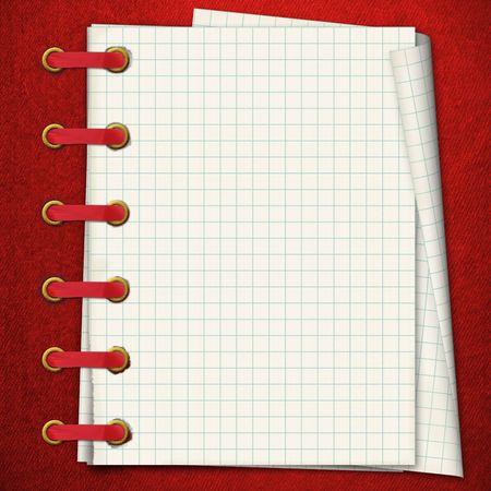 Rode notebook. Een writing-boek in een sectie. Een gouden clip en een rode tape Stockfoto