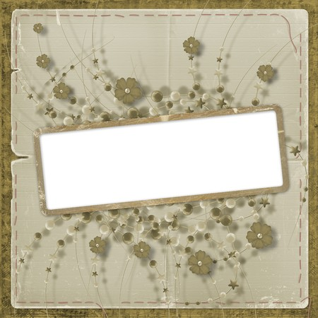 ornamente: Grunge page for photo or invitation on the ancient background with bunch Stock Photo