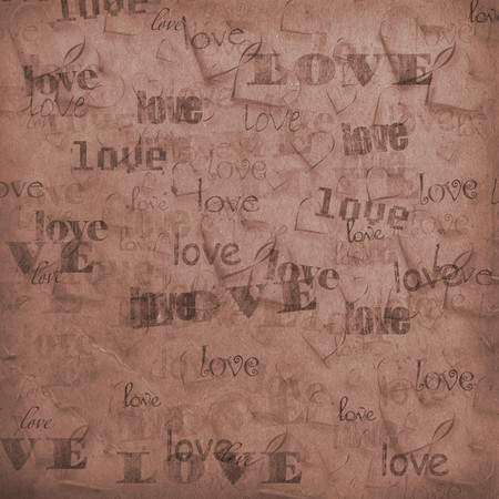 betrothal: Old paper in grunge style. Abstract background with hearts