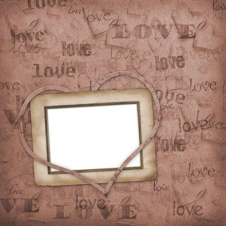wedding photo frame: Old paper in grunge style. Abstract background with hearts