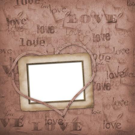 wedding photo frame: Vecchia carta in stile grunge. Premessa di fondo con il cuore Archivio Fotografico