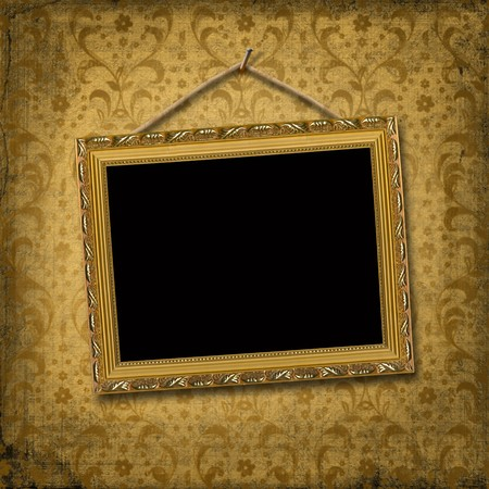 gilded: Picture gold frame with a decorative  victorian pattern