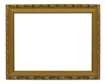 Picture gold frame on the white isolated background Stock Photo - 4214990