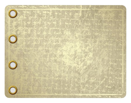 aureate: Grunge leaf of aureate paper with gold rivets