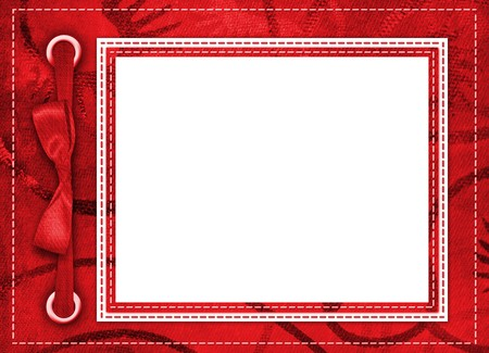 album greetings: Framework for a photo or invitations. A red bow. A beautiful background. Stock Photo
