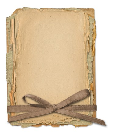 Grunge frame for old portrait or picture in scrapbooking style with bow