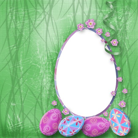 Easter Greeting with paint eggs and purple flowers Stock Photo - 4545157