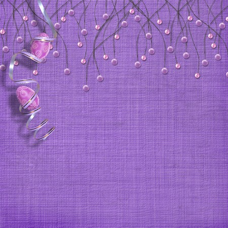 Easter background with paint eggs and purple beads Stock Photo - 4545166