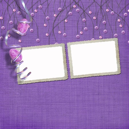 Easter frames with paint eggs and purple beads Stock Photo - 4545153