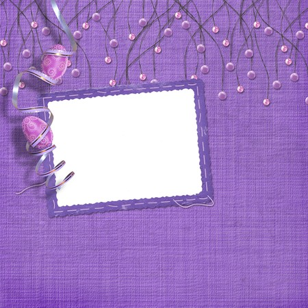 Easter frame with paint eggs and purple beads Stock Photo - 4545154
