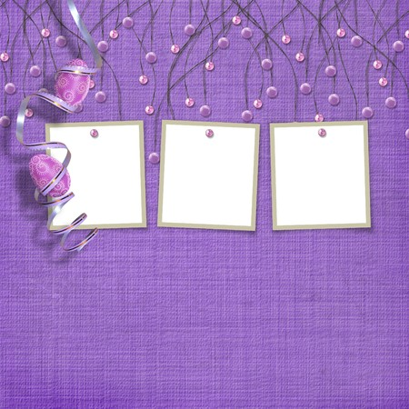 Easter three frames with paint eggs and purple beads Stock Photo - 4545155