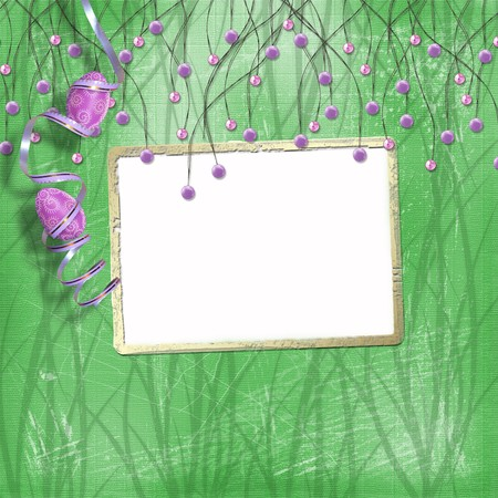 Easter frame with paint eggs and purple beads Stock Photo - 4545164
