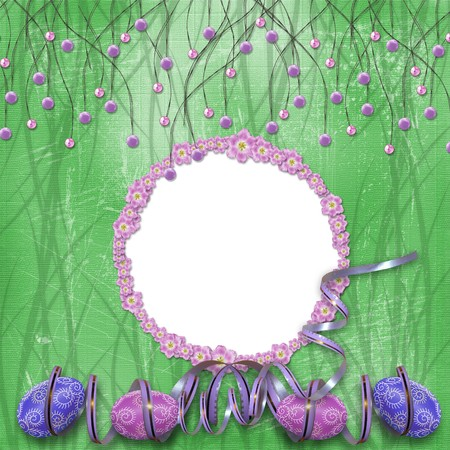 Easter frame with paint eggs and purple beads Stock Photo - 4545167