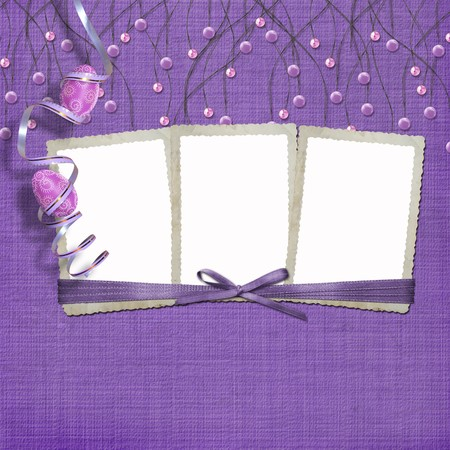 Easter three frames with paint eggs and purple beads Stock Photo - 4545152