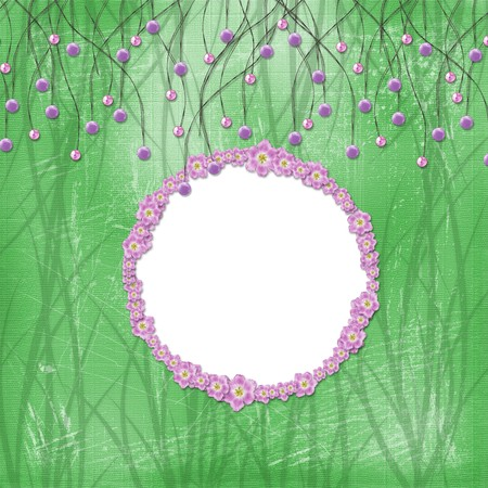 Green abstract background with suspended beads and  floral frame Stock Photo - 4545168