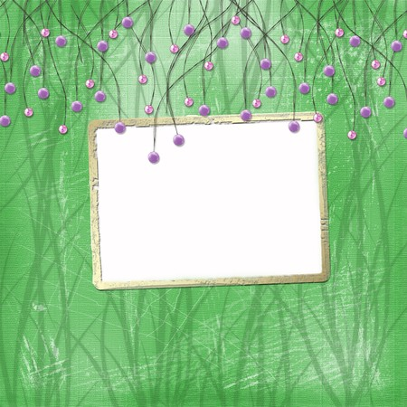 Green abstract background with suspended beads and gold frame Stock Photo - 4545165