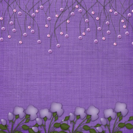 Violet abstract background with suspended beads and flowers Stock Photo - 4545158