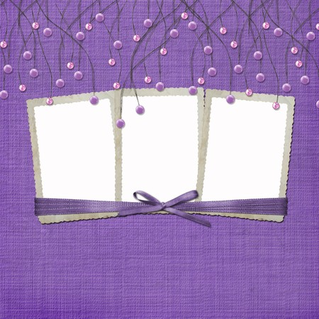 suspended: Violet abstract background with suspended beads and frames