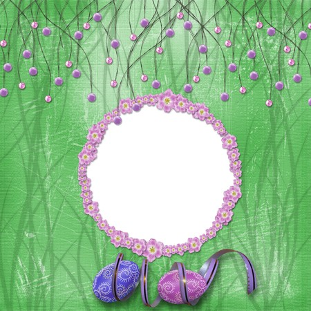 Easter frame with paint eggs and purple beads Stock Photo - 4567123