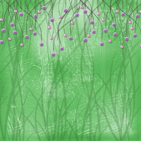 Green abstract background with suspended beads and threads Stock Photo - 4567124