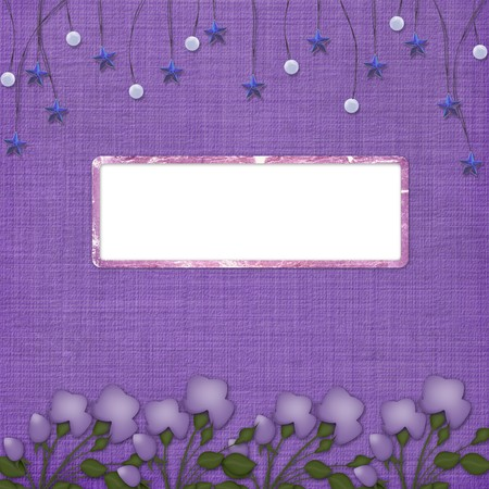 Violet abstract background with suspended beads and frame  Stock Photo - 4567119