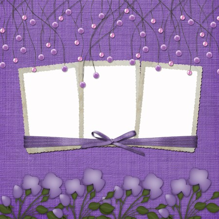 Violet abstract background with suspended beads and frames Stock Photo - 4567118