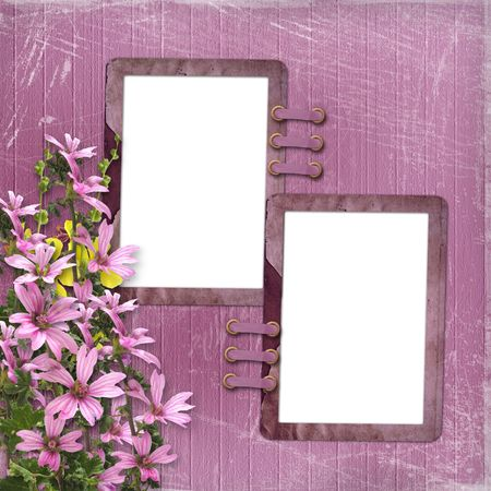 Pink abstract background with two frames and floral beautiful bouquet