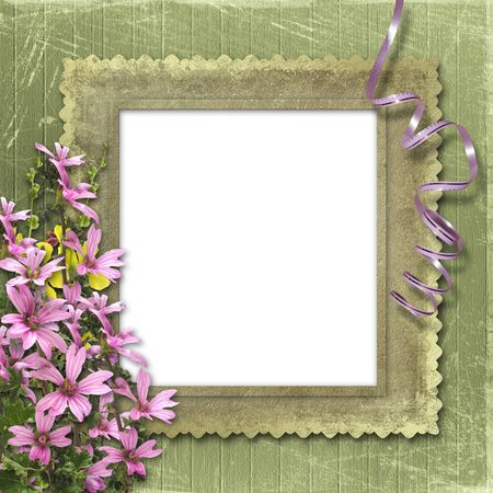 wedding photo album: Green abstract background with frame and floral beautiful bouquet