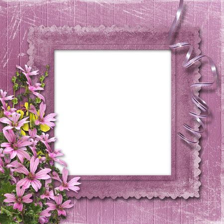 Pink abstract background with frame and floral beautiful bouquet Stock Photo - 4607472